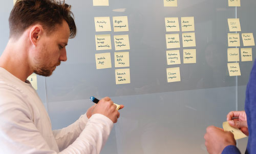 planning at the board with post it notes